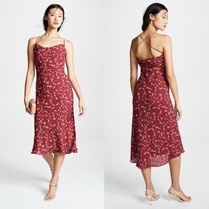 NWT Likely Honor Red Floral 90's Slip Dress Size 0